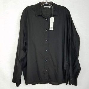Vince NWT Button Down Shirt Long Sleeve Black Sz L